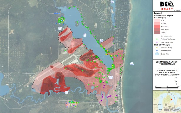 April 2017 Wurtsmith PFC PFAS plume map