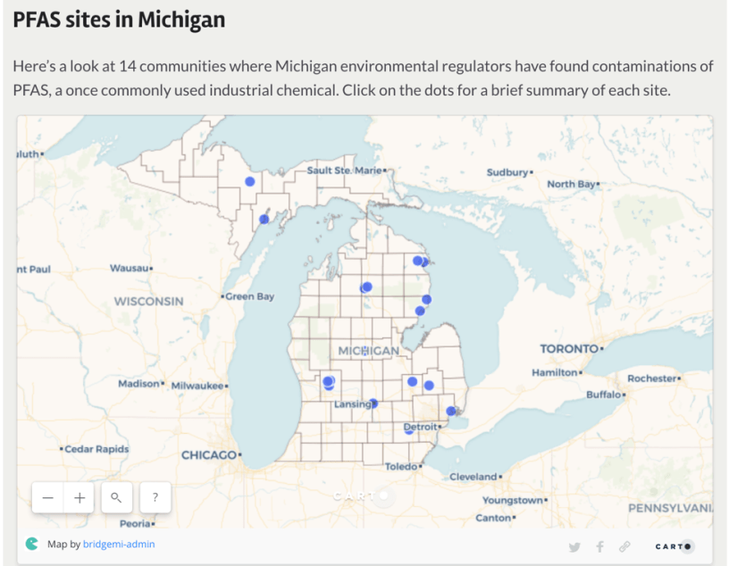 Map Find Pfas Chemical Threats To Michigan Drinking Water Near Your