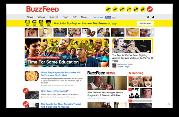 De voorpagina van Buzzfeed