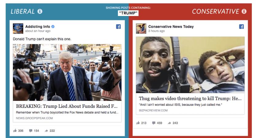 Twee verschillende newsfeeds, twee verschillende wereldbeelden