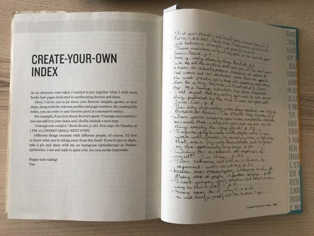Tribe of Mentors van Tim Ferriss heeft genoeg ruimte voor je eigen inhoudsopgave
