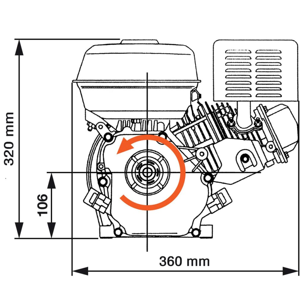 6 5hp 4 8kw Black Petrol Engine Replacement Motor Recoil