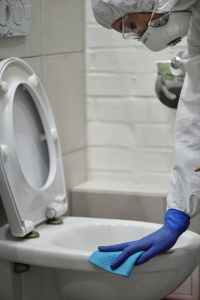 person cleaning toilet bowl