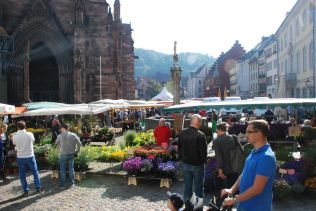 Münsterplatz Freiburg mit Markt