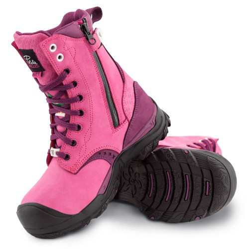 Womens steel toe work boots, waterproof, slip resistant, pink colour