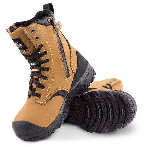 Womens steel toe work boots, waterproof, slip resistant, tan colour