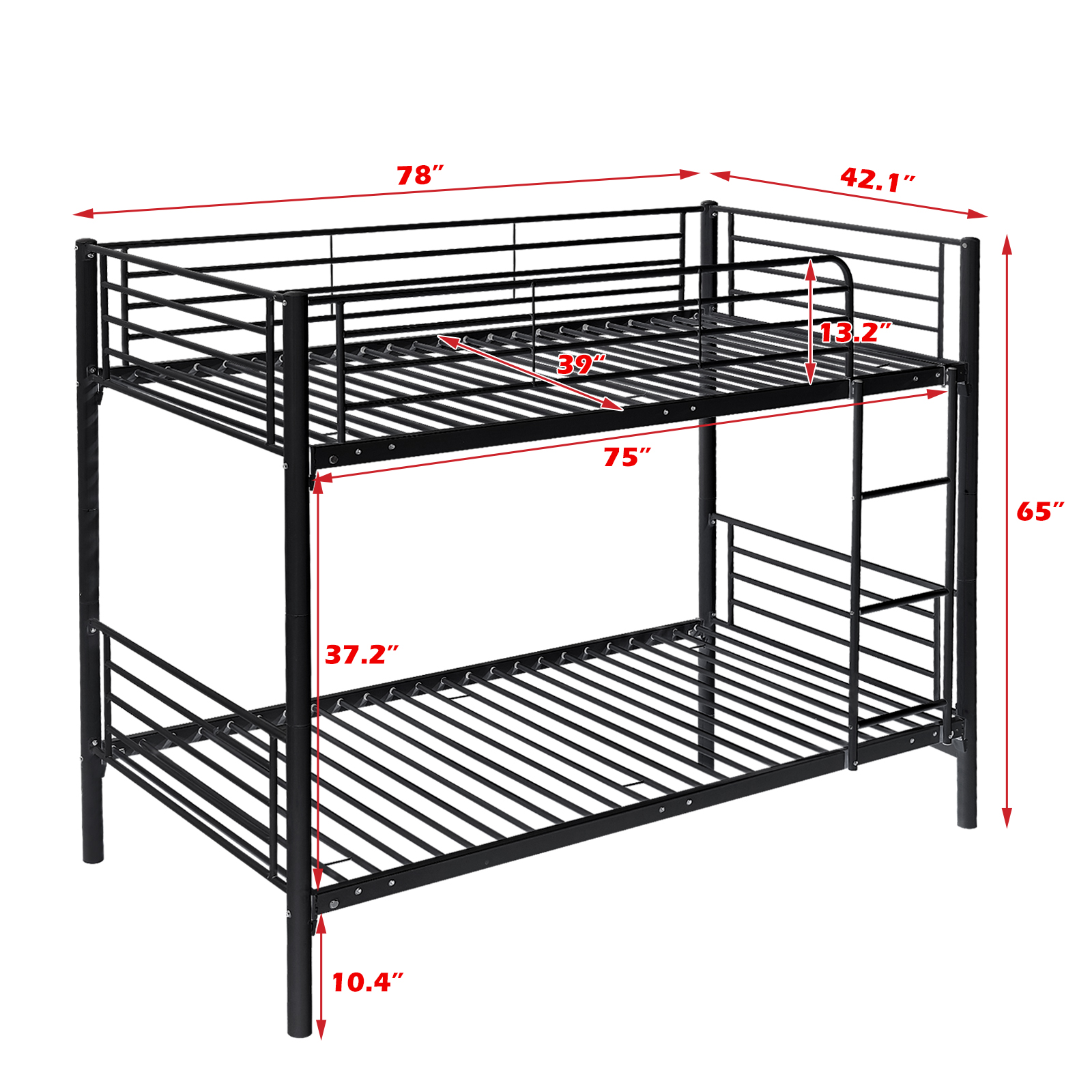 Metal Twin Over Twin Bunk Beds Frame W Ladder Kids Adult