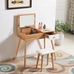 Modern Oak Dressing Table Makeup Desk Vanity Set W Flip Up Mirror Drawer Stool Ebay