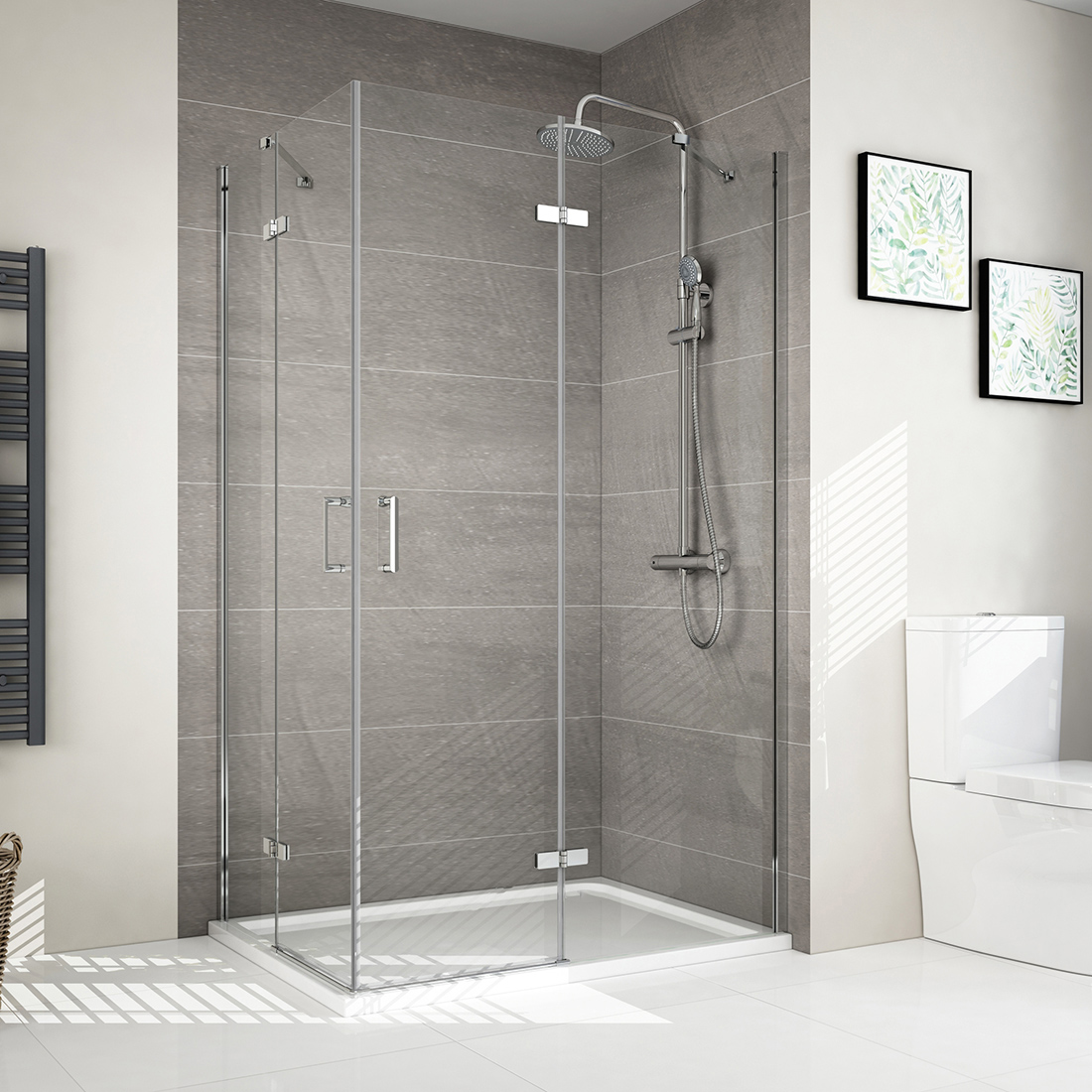 Details About Frameless Hinged Shower Enclosure Door Corner Entry 6mm Glass Cubicle Door Uk