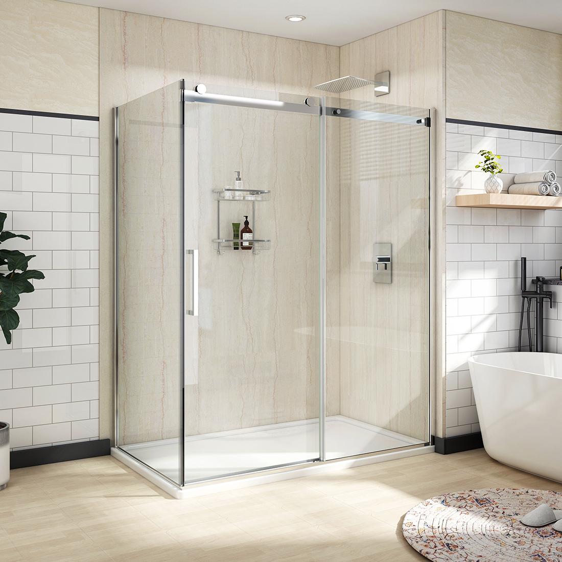 Details About 60 X36 X72 Bath Frameless Sliding Shower Door Enclosure 5 16 Glass Chrome