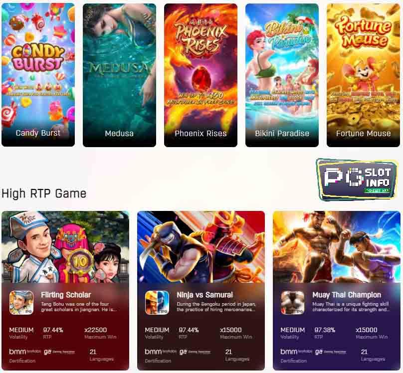 พีจี สล็อต หน้ารวมเกมสล็อต ยอดนิยม high RTP game จาก PGsoft,PG slot