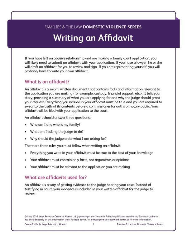 Writing an Affidavit BOOKLET
