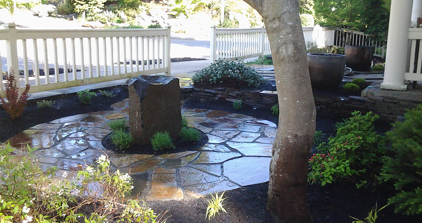 Flagstone patio with water dish