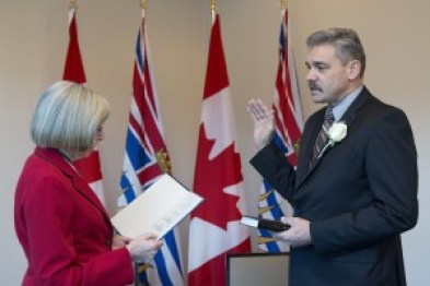 Prince George-Mackenzie MLA Mike Morris is sworn in as the province's new solicitor general. Photo courtesy of the province of B.C.