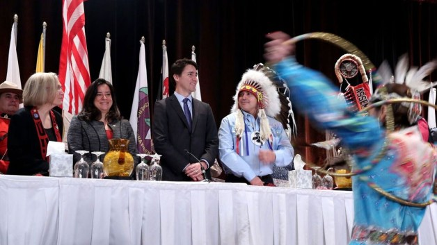 Prime Minister Justin Trudeau watches the opening ceremonies before delivering a speech to the Assembly of First Nations Special Chiefs Assembly in Gatineau, Quebec. Photo courtesy of the Government of Canada