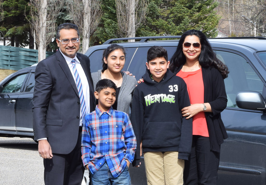 Prince George-Mackenzie NDP candidate Bobby Deepak, along with his family, cast his ballot for the May 9 election this morning. Bill Phillips photo