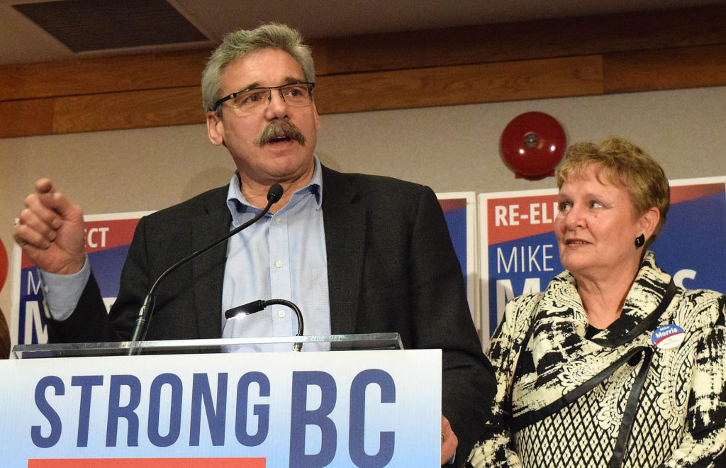 Prince George-Mackenzie MLA-elect Mike Morris speaks to Liberal supporters Tuesday night. Morris captured 9,287 votes to New Democrat Bobby Deepak's 5,093 and Green Party candidate Hilary Crowley's 1,797 to get re-elected. Bill Phillips photo