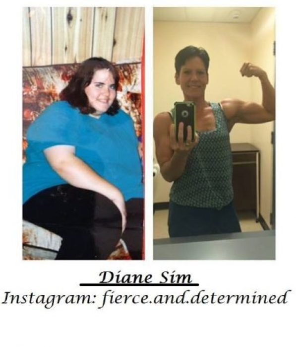 Before and after. Diane Sim when she was 425 pounds and today, ready to compete in the provincial body-building championships.