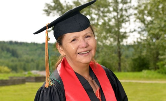 Carla Alphonsetravelled a long distance to earn her First Nations Language Certificate in Tsilhqot'in.UNBC photo