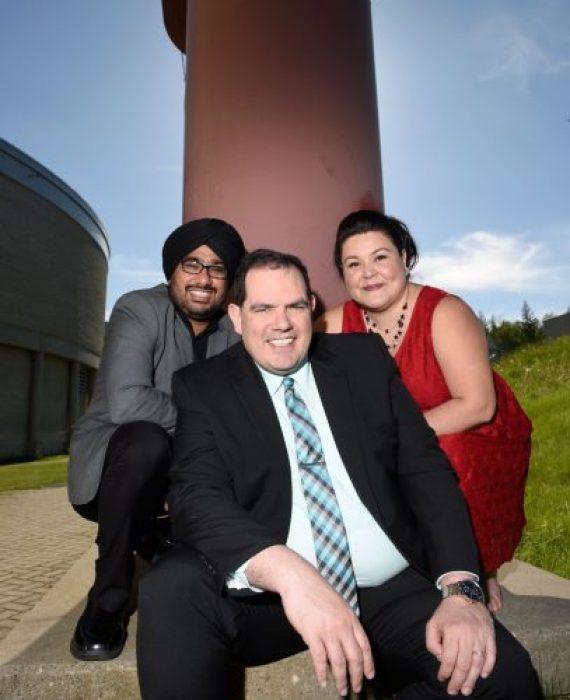 Dr. Dr. Baljeet Malhotra, Dr. Ronny Priefer and Leona Prince. UNBC photo