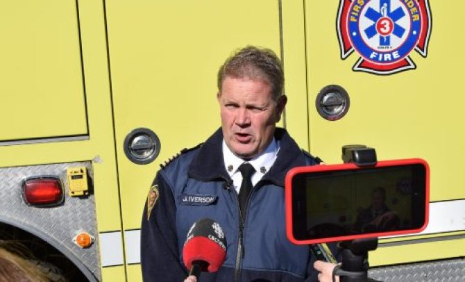 Fire Chief John Iverson speaks with media about the need to replace Firehall #1. Bill Phillips photo