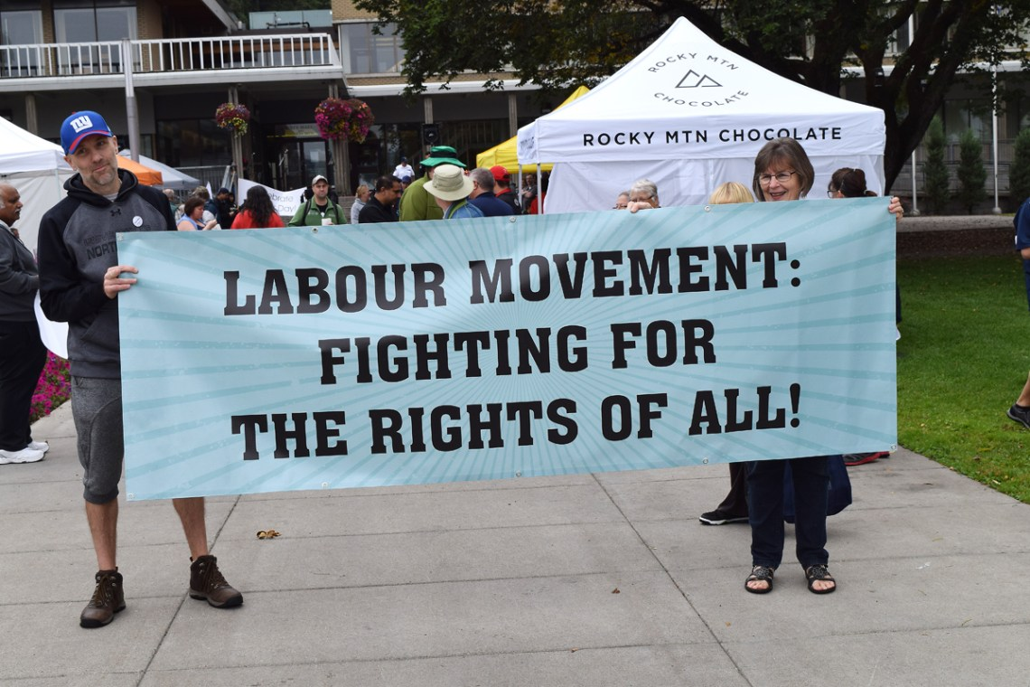 About 120 people took part in the Labour Day march in downtown Prince George Monday. Bill Phillips photo