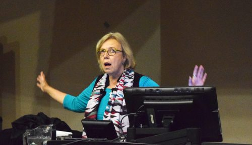 Green Party leader Elizabeth May speaking at UNBC Friday. Bill Phillips photo