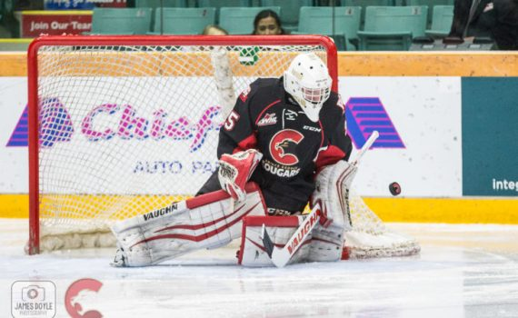 Prince George Cougars netminder Taylor Gauthier. James Doyle photo