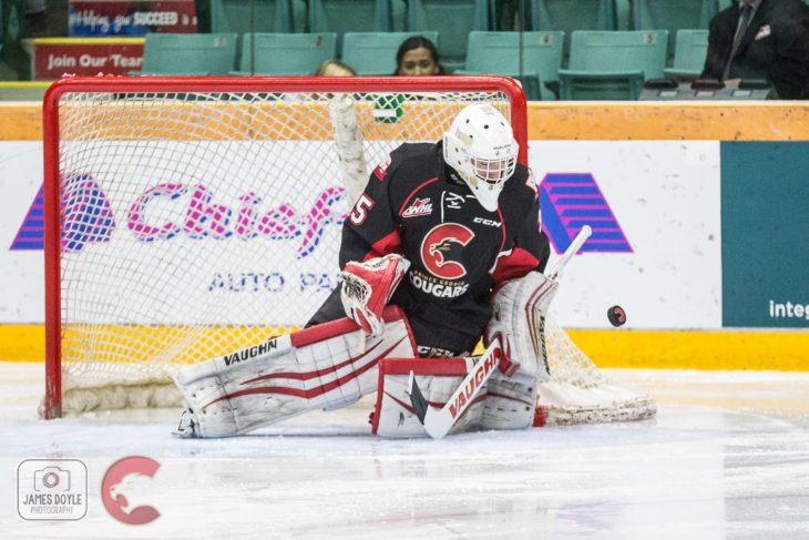 Prince George Cougars netminder Taylor Gauthier picks up his first WHL win. James Doyle photo