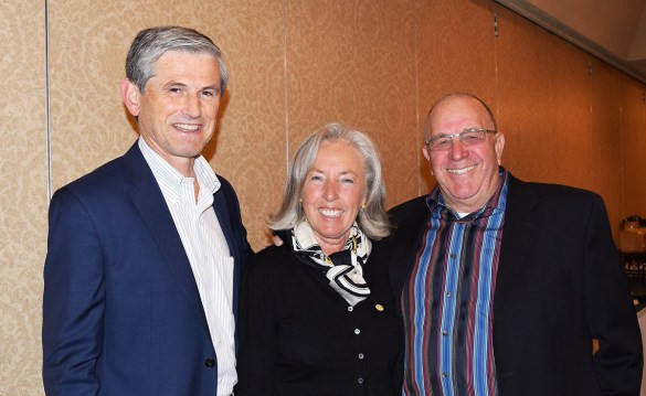 Liberal party leadership contender Andrew Wilkinson (left) with Dagmar and Bill Norton at a meet-and-greet Friday afternoon. Bill Phillips photo