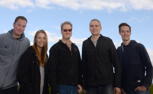 From left, Cody Birch, Jordan Pawluk, Dr. Peter Jackson, Taras Tereshchak, Brayden Nilson and James Albino (not pictured), published a paper based on a class research project analyzing 12 years of Prince George air quality data. UNBC photo