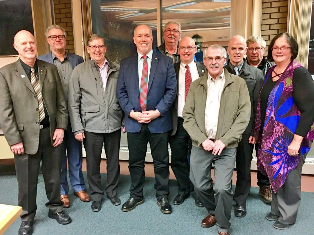 "Premier John Horgan was in Prince George Friday to meet with northern mayors. ""Really enjoyed my roundtable with northern mayors and regional district reps this evening. We touched upon a range of issues, including forestry, energy, trade, health care and education. Thanks to @Bob__Simpson for the invite and @Lynhallpg for hosting,"" Horgan Tweeted. He did not meet with local media. Twitter photo"