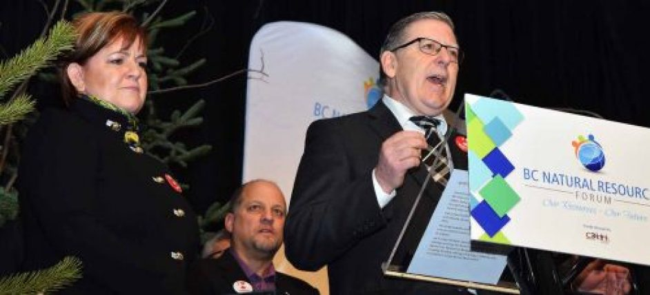 Dawson Creek Mayor Dale Bumstead, along with Fort St. John Mayor Lori Ackerman, and Kitimat Mayor Phil Germuth urge the provincial and federal governments to develop a liquified natural gas industry in B.C. at the BC Natural Resources Forum in Prince George Thursday. Bill Phillips photo