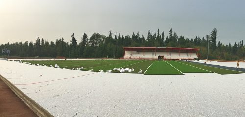 The Masich Place Redevelopment Project is set for completion in 2018. The $4.4 Million project includes one of the first outdoor synthetic fields in northern B.C. (seen being installed in this City of Prince George file photo from August, 2017).
