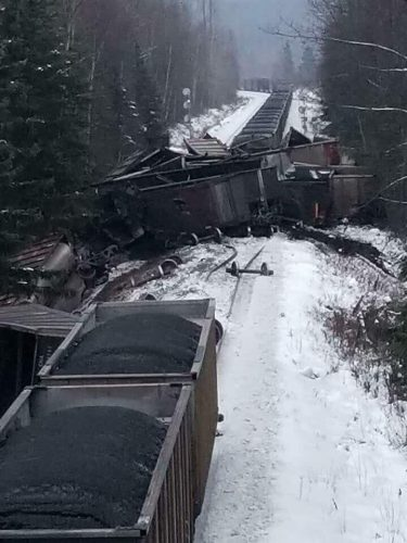 CN coal train derailment near South Hazelton. Skeena Watershed Conservation Alliance Facebook photo