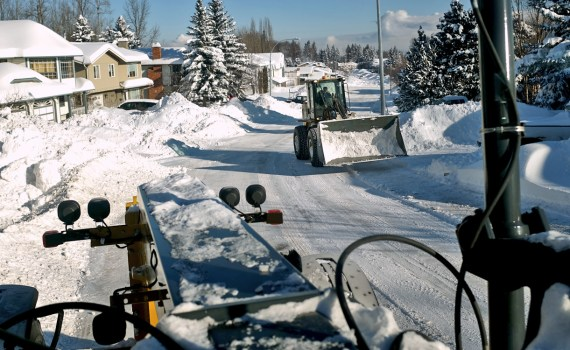 Snow and ice control crews are now clearing residential routes throughout the City and working to clear the route for this weekend's annual Iceman event. City of Prince George photo