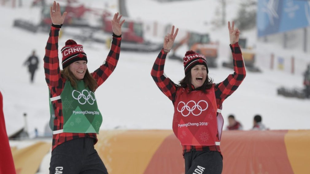 Kelsey Serwa captures gold and teammate Brittany Phelan earns silver in women's ski cross at PyeongChang 2018. Canada Olympic Committee