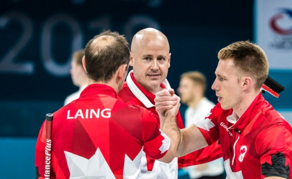 Team Canada's Team Koe in action against Italy in Draw 1 at PyeongChang 2018, Wednesday, February 14, 2018. (COC Photo by Stephen Hosier)