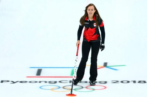 Rachel Homan of Canada shouts to her teammates as Canada play Switzerland at the Gangneung Curling Centre during the PyeongChang 2018 Olympic Winter Games in PyeongChang, South Korea on February 18, 2018. (Photo by Vaughn Ridley/COC)
