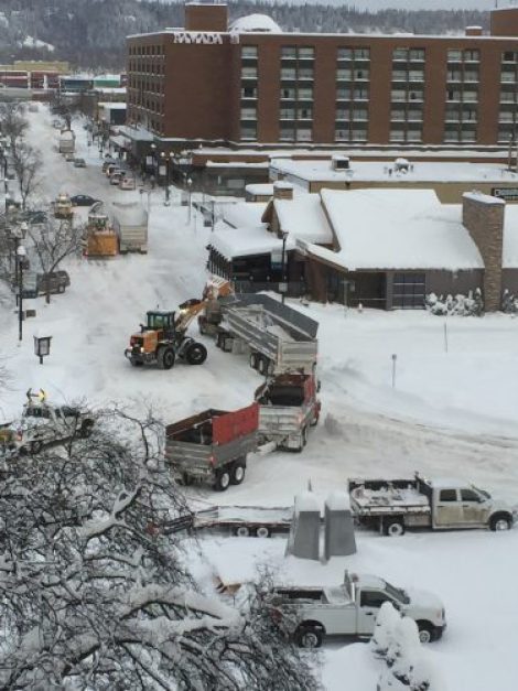 The effort to clear the city's roughly 700 kilometres of roads and nearly 200 kilometres of sidewalks was a joint effort of city crews and local contractors. Together, they mobilized 12 graders, eight plow trucks, 13 loaders, and 13 contracted dump trucks to clear city streets. City of Prince George photo
