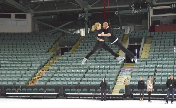 Madeline Stammen flies high during practice for Cirque du Soleil's Crystal now showing at CN Centre. Bill Phillips photo