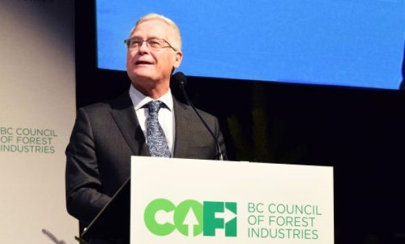 Forests Minister Doug Donaldson speaks at the Council of Forest Industries convention in Prince George Thursday. Bill Phillips photo