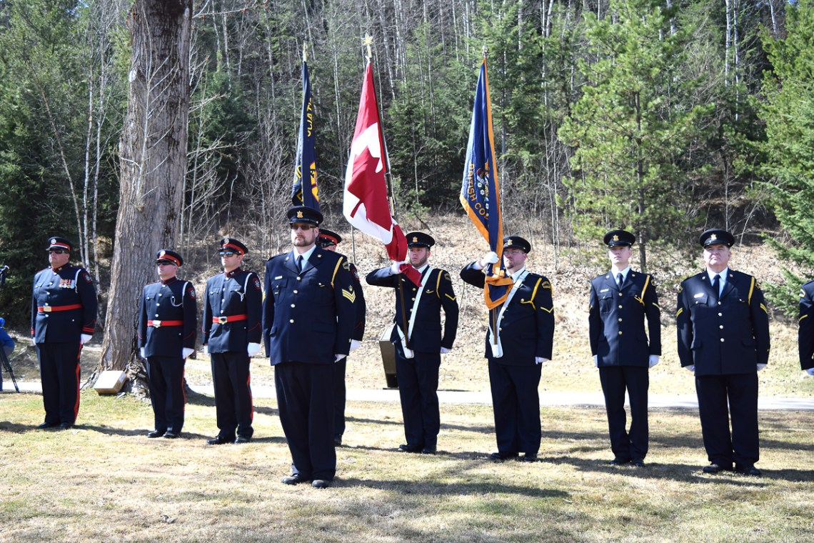 The BEGEU and PG Firefighters Honour Guard at the Day of Mourning in Prince George. Bill Phillips photo