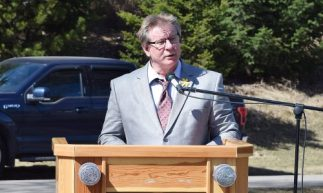 North Cariboo Labour Council president Don Iwaskow at the Day of Mourning in Prince George. Bill Phillips photo