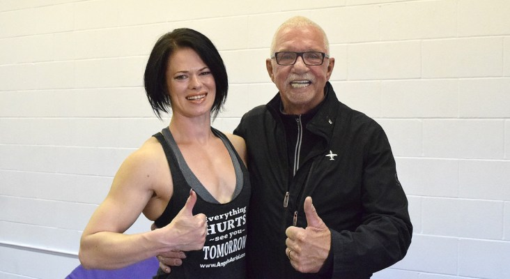 Angel Stewart of Angel's Aerial Fitness and John Brink, Founder and CEO of the Brink Group. Bill Phillips photo