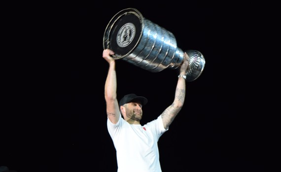 Prince George hockey product Brett Connolly shows off the Stanley Cup, which he and his Washington Capitals teammates won in June, to about 2,000 fans in CN Centre Monday. The line-up to get a picture taken with Connolly and the Cup circled the ice surface twice. Bill Phillips photo