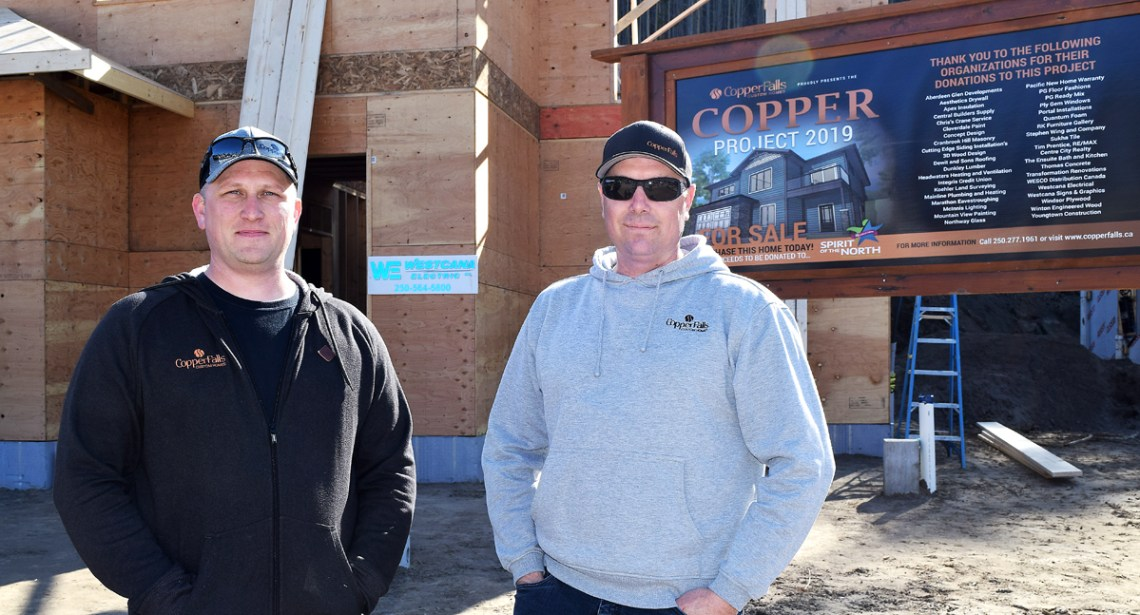 Jeff Stewart and Brent Scheck, co-owners at Copper Falls are building a home on Links Drive and the proceeds from the sale of the home will be donated to the Spirit of the North Healthcare Foundation. Bill Phillips photo