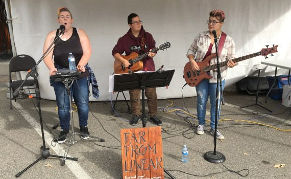 Far From Linear featuring Demmy G., Renee Conway, and Olivia Kozoris entertain the crowd at Fall Fest Saturday. Third Avenue and Victoria Street were packed as residents flocked downtown to take part in the inaugural event. Bill Phillips photo