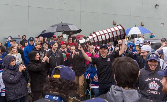 A large crowd greeted the Fred Page Cup champion Prince George Spruce Kings when they rolled into the Rolling Mix Concrete Arena Thursday evening. The Spruce Kings swept the Vernon Vipers to capture the title, going a remarkable 12-1 in their playoff run. The Spruce Kings will now play the Alberta champion Brooks Bandits. Spruce Kings Facebook photo