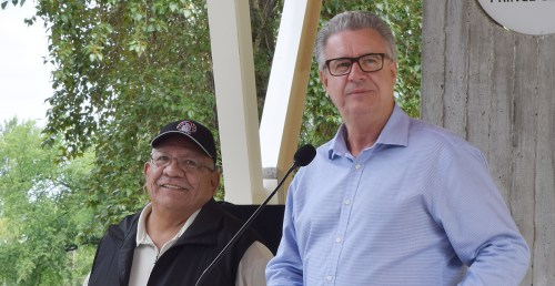 Lheidli T'enneh Chief Dominic Frederick and Prince George Mayor Lyn Hall at the pavilion opening. Bill Phillips photo